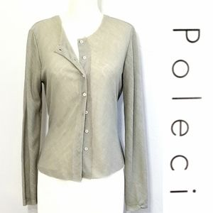Poleci sheer button front top/cardigan
